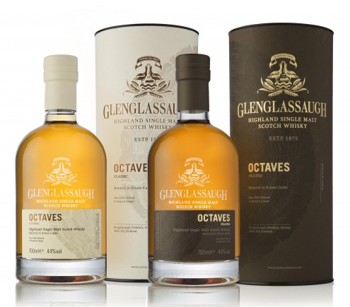 Glenglassaugh Octaves Classic and Peated bottles with boxes